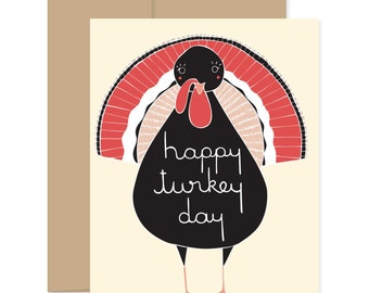 Turkey Day Thanksgiving Card, Turkey Thanksgiving Card, Happy Thanksgiving, Thanksgiving Greetings, Gobble Card, November Card