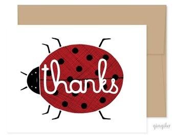 Thanks Lady Bug Card, Lady Bug Thank You, Lady Bug Greetings, Blank Thank You Card, Handmade Thanks Card