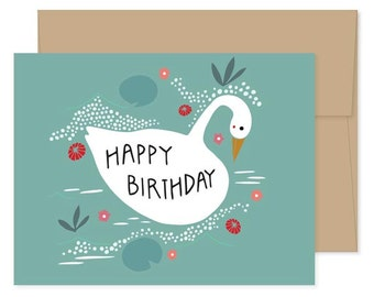 Swan Happy Birthday Cards, Blank Swan Cards, Swan Celebration, Swan Birthday Card, Swan Greeting Cards, Swan Stationery