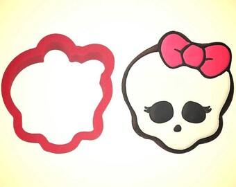 monster skull cookie cutter. Girl monster skull cookie cutter, Sugar skull cookie cutter, halloween cookie cutter.