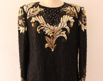 Sequin Blouse. Black and Gold Beaded Silk Shell
