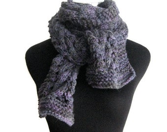 Hand Knit Scarf, The Stef Scarf, Cable and Lace Purple Violet Charcoal Scarf, Vegan Scarf, Mens Scarf, Womens Accessories Scarf