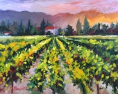 Original oil painting, landscape, winery, california landscape, impressionist landscape, vineyard