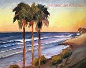 Original impressionist painting, ocean landscape, beach landscape, oil painting, coastal art, California art, impressionist art, wall art