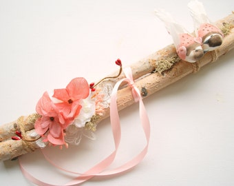 love nest, wedding party alternative ring bearer pillow, love birds, birch branch bough, rustic woodland wedding, wooden ring bearer pillow