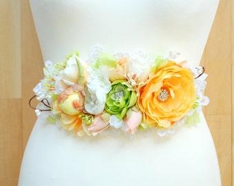 Pastel Orange Green Peach White Bridal Flower Satin Sash, Shabby Chic Vintage Weddings, Summer Weddings Belt, Maternity Belt, Ranunculus