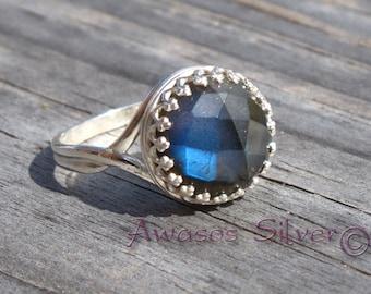 Beautiful Labradorite Sterling Silver Ring Design #2. Checker cut Labradorite set in sterling silver. Handcrafted fancy Labradorite ring.