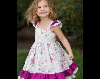 Girls Spring Dress - Flutter Sleeve Dress - Twirl Dress - Roses Dress - Vintage Inspired - Mothers Day - Flower Girl Dress - Family Pictures