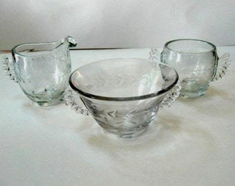 Vintage Sugar and Creamer Mayonnaise Bowl Paden City Gray Cut Laurel  Pattern Wing Handles Set of Three 1950s