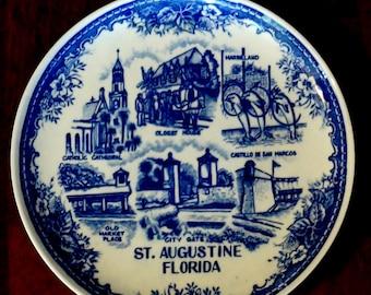 Vintage Souvenir Plate St Augustine Florida Commemorative Blue and White 1970s