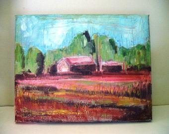 Barn Oil Painting Farm Landscape Art Kansas Iowa Paint on Canvas 11 x 14