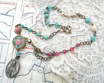 catholic medal necklace assemblage intaglio rose religious