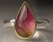 Watermelon Tourmaline Ring - 18k Gold and Sterling Silver