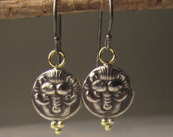 Ancient Greek Coin Earrings, 18k Gold and Sterling Silver Ancient Coin Earrings, Lion Coin Earrings