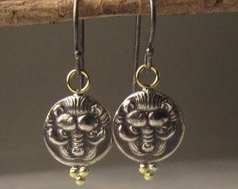 Ancient Greek Coin Earrings, Sterling Silver 18k Gold, Ancient Coin Earrings, Lion Coin Earrings