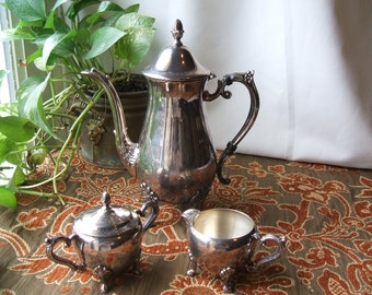 Vintage F B Rogers Silver Plated Tea Service, 4 Footed Ornate Teapot, Lidded Sugar Bowl & Creamer