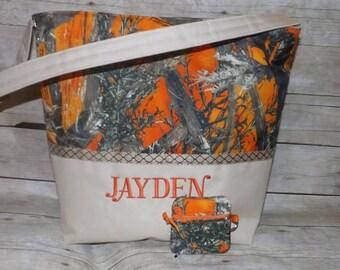 Orange Camo Diaper Bag