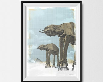 Star Wars, Print, AT AT, Wall art, Print, A3, Star Wars Print, Star Wars Art, Star Wars Gift