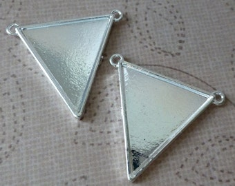 pack of 5 Silver colour Pendant, Blanks, Connector Triangle
