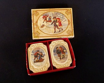 Vintage Avon Winter Frolics Fragrance Soap Set, Victorian Style, Soap Set With Box, Collectible Soap, Vanity Decor, Avon Collectible