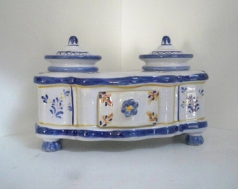 Vintage Home Office Ink Well Portugal Ceramic Antique Ceramic Style