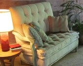 RESERVED FOR LINDA/Doll Settee with distressed wood arms and vintage handmake matress