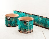 Teal Turquoise Bracelet Leather Jewelry Painted Leather Wristbands - Winter Gift Guide, Winter Trends, Valentine's Day 2016 Fashion