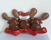 SALE...Personalized Moose Family of 3 Christmas Ornament