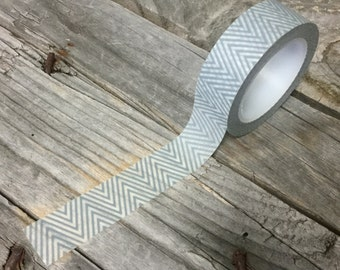 Washi Tape - 15mm - Grey and White Chevron - Deco Paper Tape No. 310