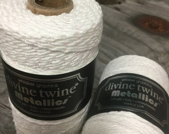 Full Spool - 240 Yards - White and Iridescent Shimmer - Baker's Twine