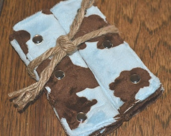 Cowboy Car Seat Strap Covers blue brown cow print minky SPECIAL ORDER ITEM
