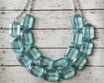 FREE EARRINGS, Pale Blue Transparent Chunky Statement Bib Necklace...Purchase 3 or more get 10% off