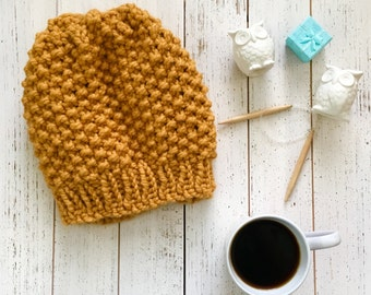 Mustard Chunky Knit beanie for women, Modern Chunky knit, handknit slouchy hat, winter hat for women, accessories for teen