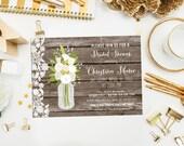 Lace and Wood Mason Jar Bridal Shower Invitations & Recipe Card. Digital Printable Party Invite. Bridal Shower. Lace Mason Jar Invite.