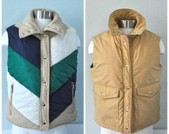 Reversible Vest Jacket 70s 80s Puffy Winter Ski Geometric Diagonals Chevron Green Blue Beige SMALL MEDIUM