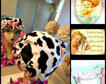 Retro handmade shower cap in Cow theme, showering, farm, country girl, animals, bathing, pin up