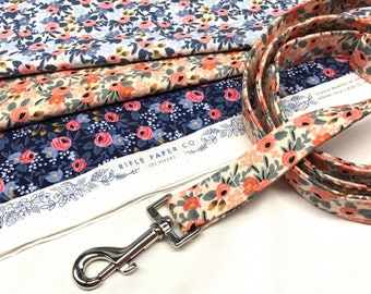 Rifle Paper Co. Fabric Dog Leash Les Fleurs Peach, Periwinkle, Navy Blue