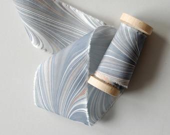 Marbled Silk Ribbon in Heather Purple