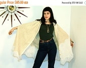 SALE 50% OFF Stevie Nicks Poncho Vintage 70s Cable Knit Fringe Sweater Long Boho Button Down Handmade Crochet Cream Ivory  White Ombre 1970s