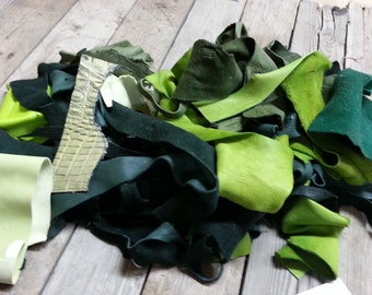 Green Salvaged Leather Scraps- Buckskin Leather Pieces-  One Pound Bag Lot No. 160625-Y