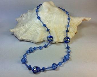 Blue Murano glass Necklace Gustav klimt style
