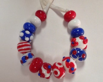 Handmade Glass Lampwork Beads- Red, White and Blue Patriotic Colors- Fourth of July-Memorial Day-School Colors-New England Patriots