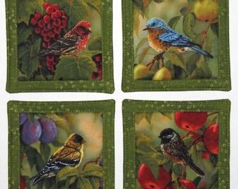 Set of Four (4) Reversible Coasters, Birds