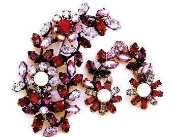 Austria Pink Red Amethyst Brooch and Earring Set