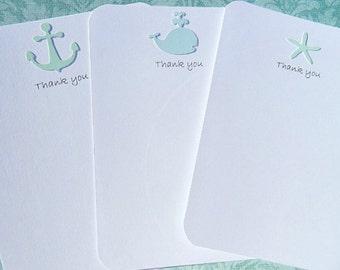 Nautical Thank You Cards -  Wedding Thank You Cards - Bridal Shower Thank You Cards - Baby Shower Thank You Cards - Nautical Notecards wnty