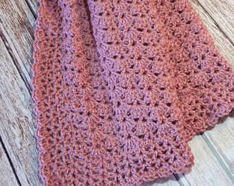 Rose Dusty Pink Baby Blanket Mauve Crochet Car Seat Crib Stroller Afghan Homecoming Shower Gift