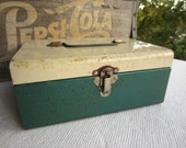 Vintage Green and White Utility Box Metal Box With Latch