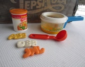 Vintage Fisher Price Fun With Food Alphabet Soup Can Simmering Sauce Pan and Ladle