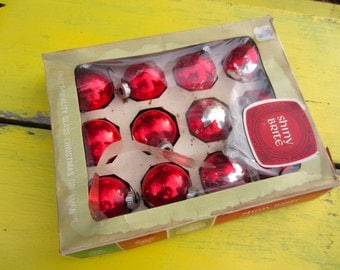 Vintage Christmas Ornaments Shiny Brite Red Ball Glass