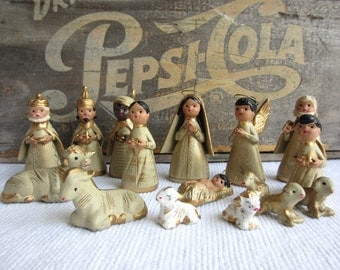 Vintage Mexican Pottery Nativity set of 16